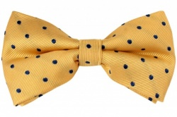 Yellow Pre-Tied Silk Bow Tie With Navy Blue Dots
